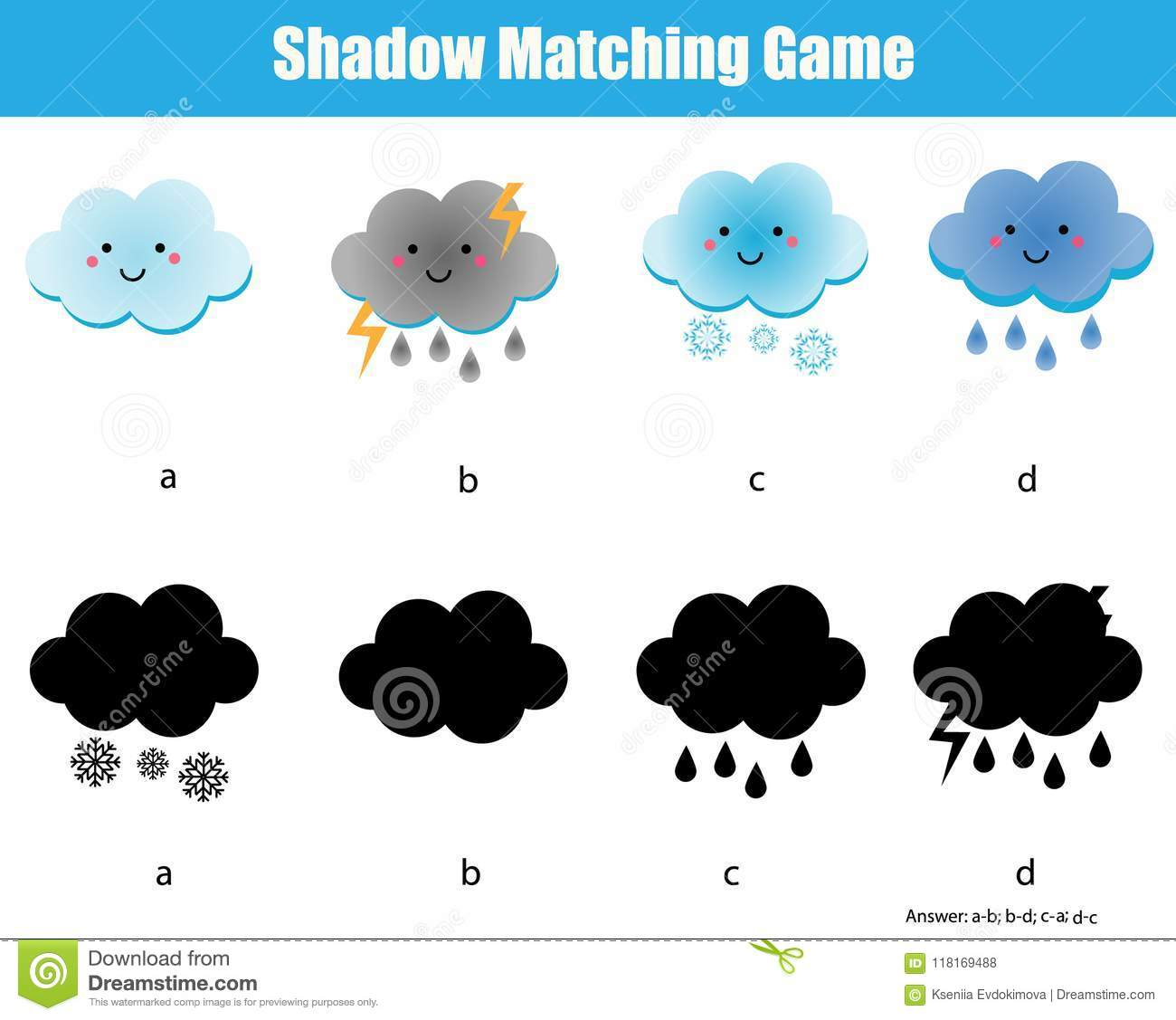 Shadow Matching Game Kids Educational Activity With Cute