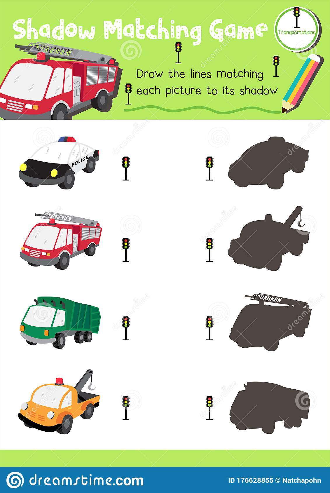 Shadow Matching Game For Preschool Kids Activity Worksheet