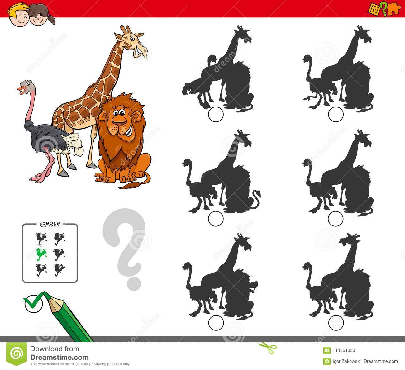 Zoo Worksheet Matching