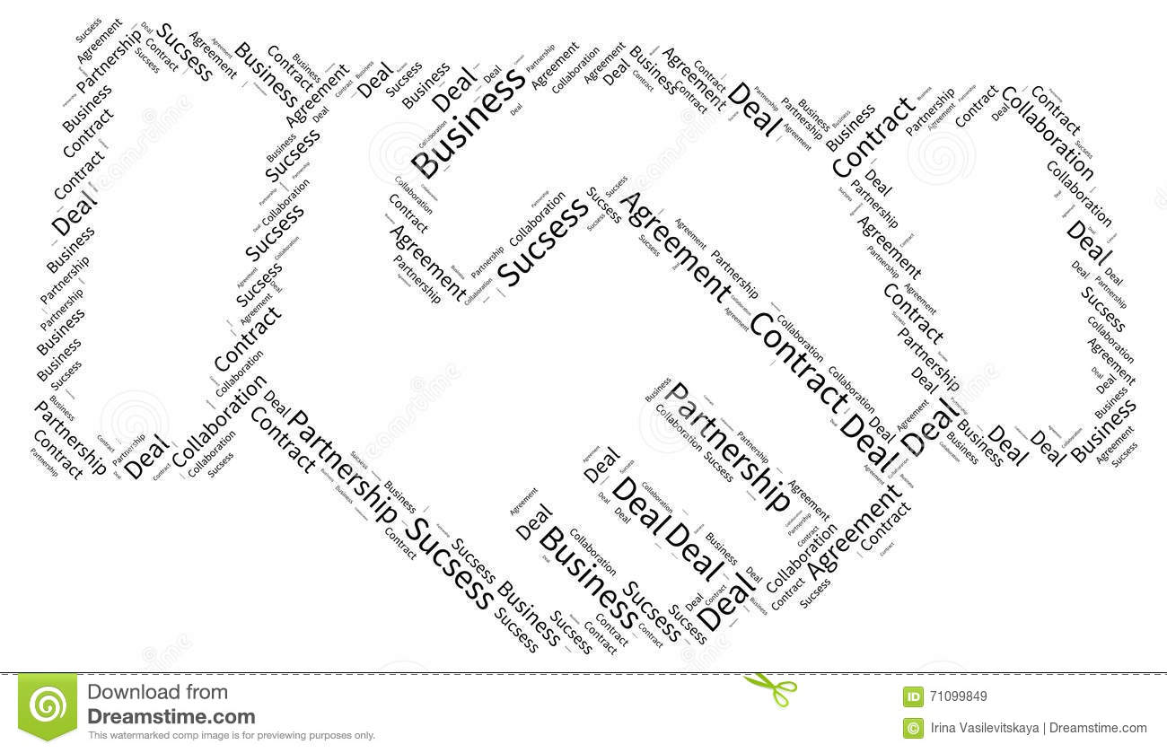 Shaking Hand Business Tag Cloud Mosaic Stock Illustration