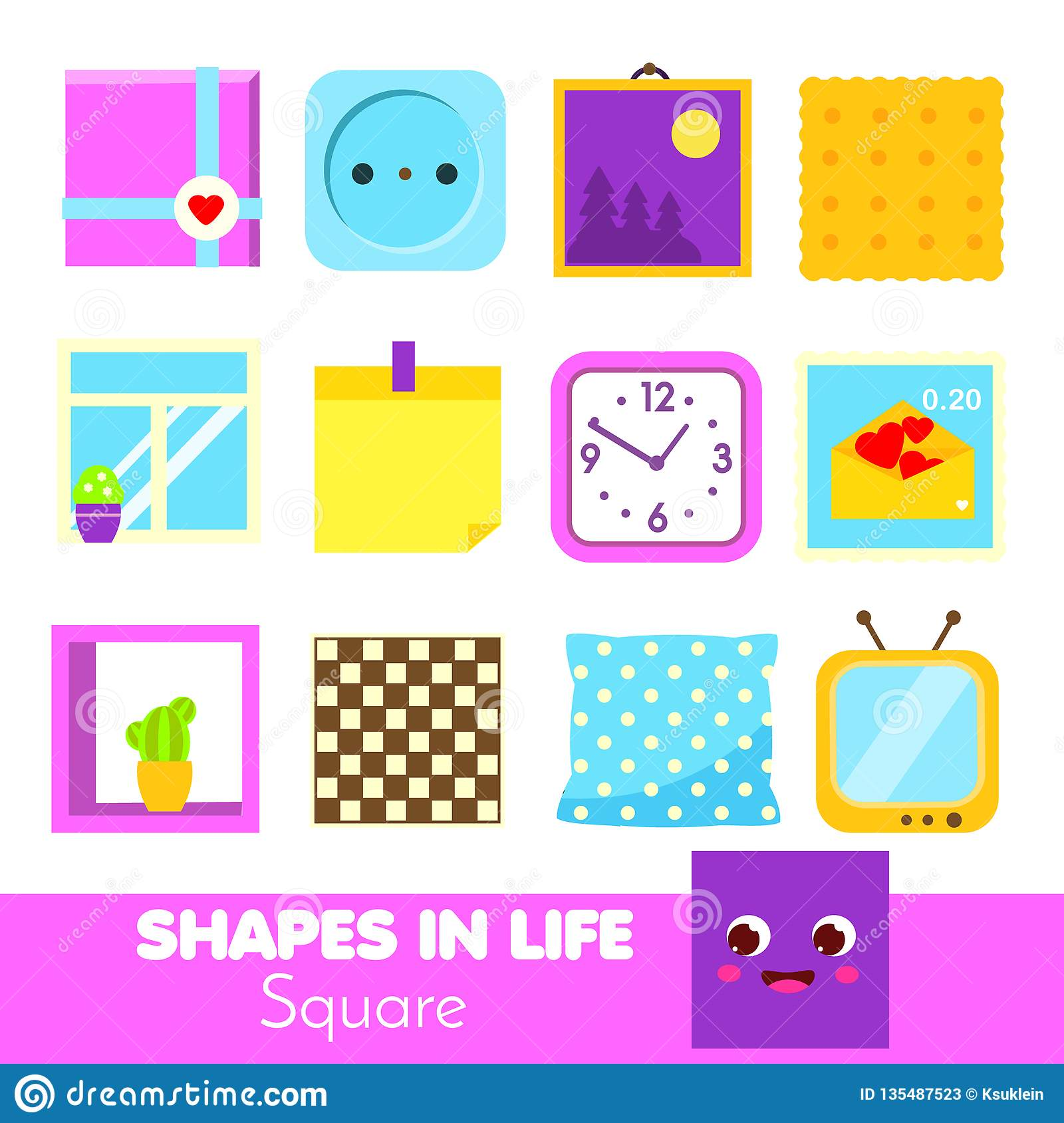 Shapes In Life Square Learning Cards For Kids