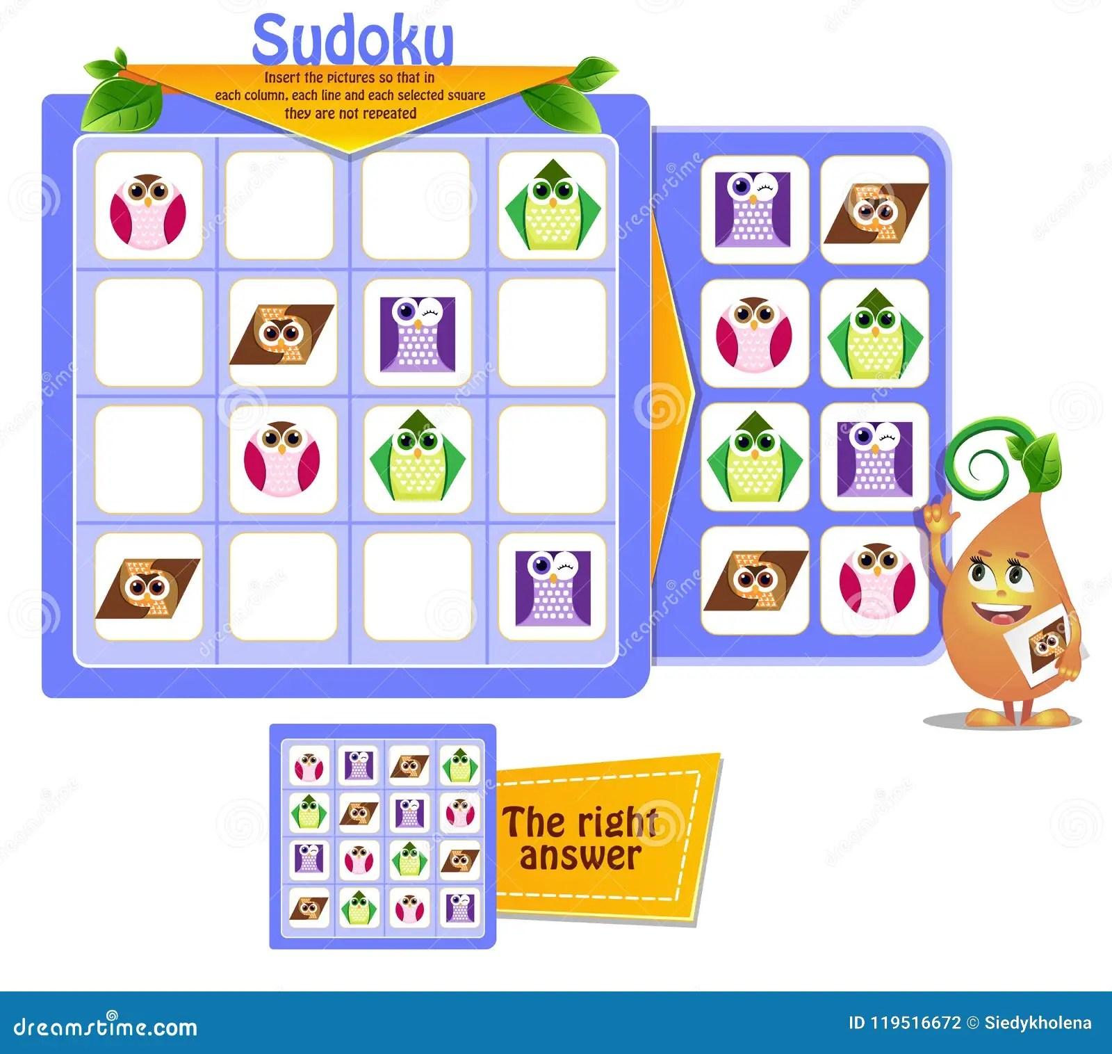 Shapes Owls Game Sudoku Kids Stock Illustration