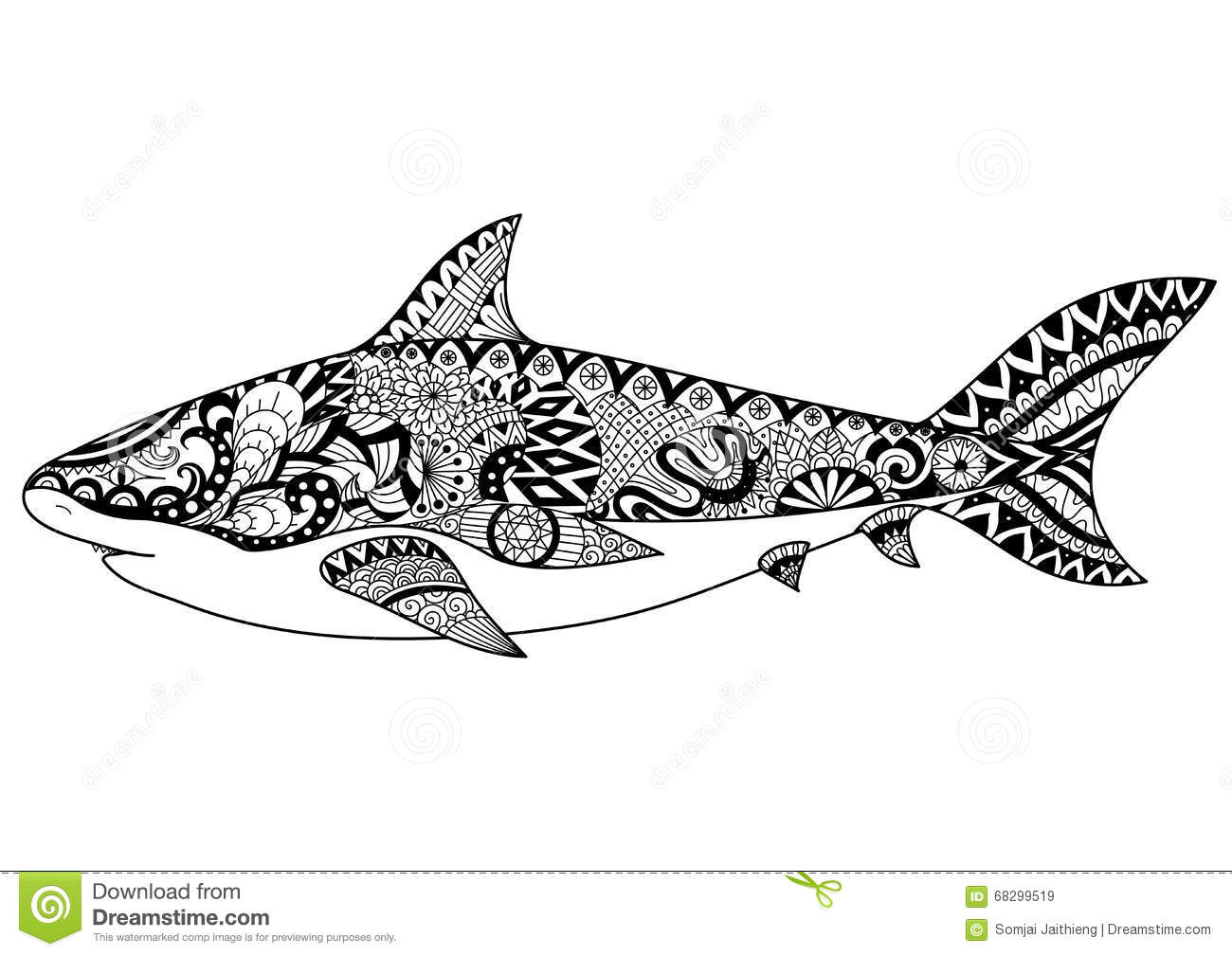 Shark Line Art Design For Coloring Book For Adult Tattoo