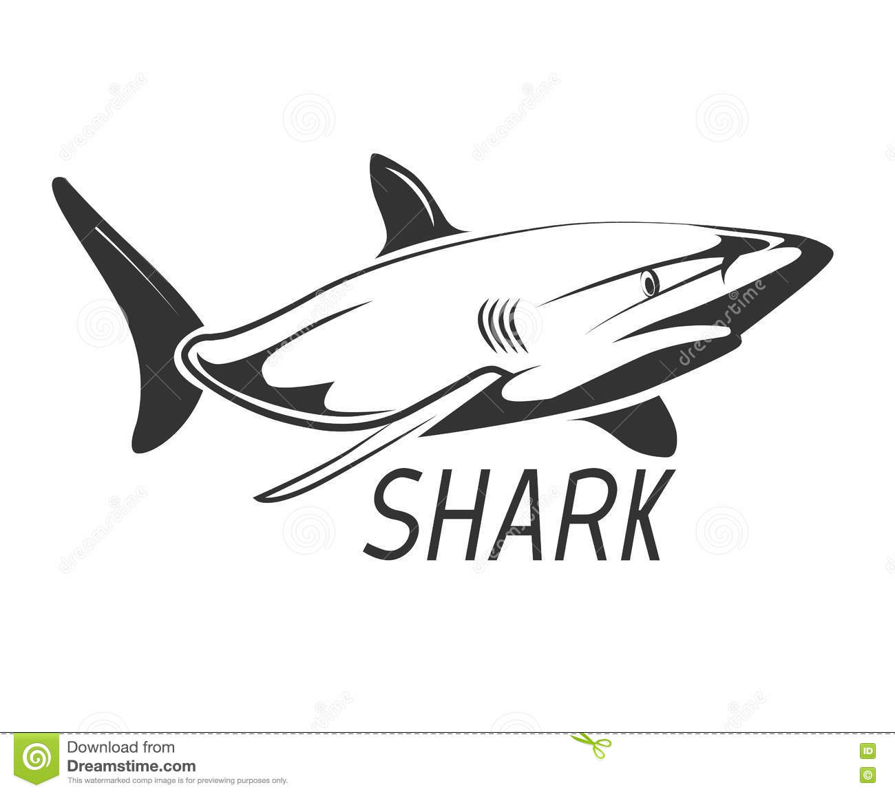 Shark Logo In Black Isolated On White Stock Vector