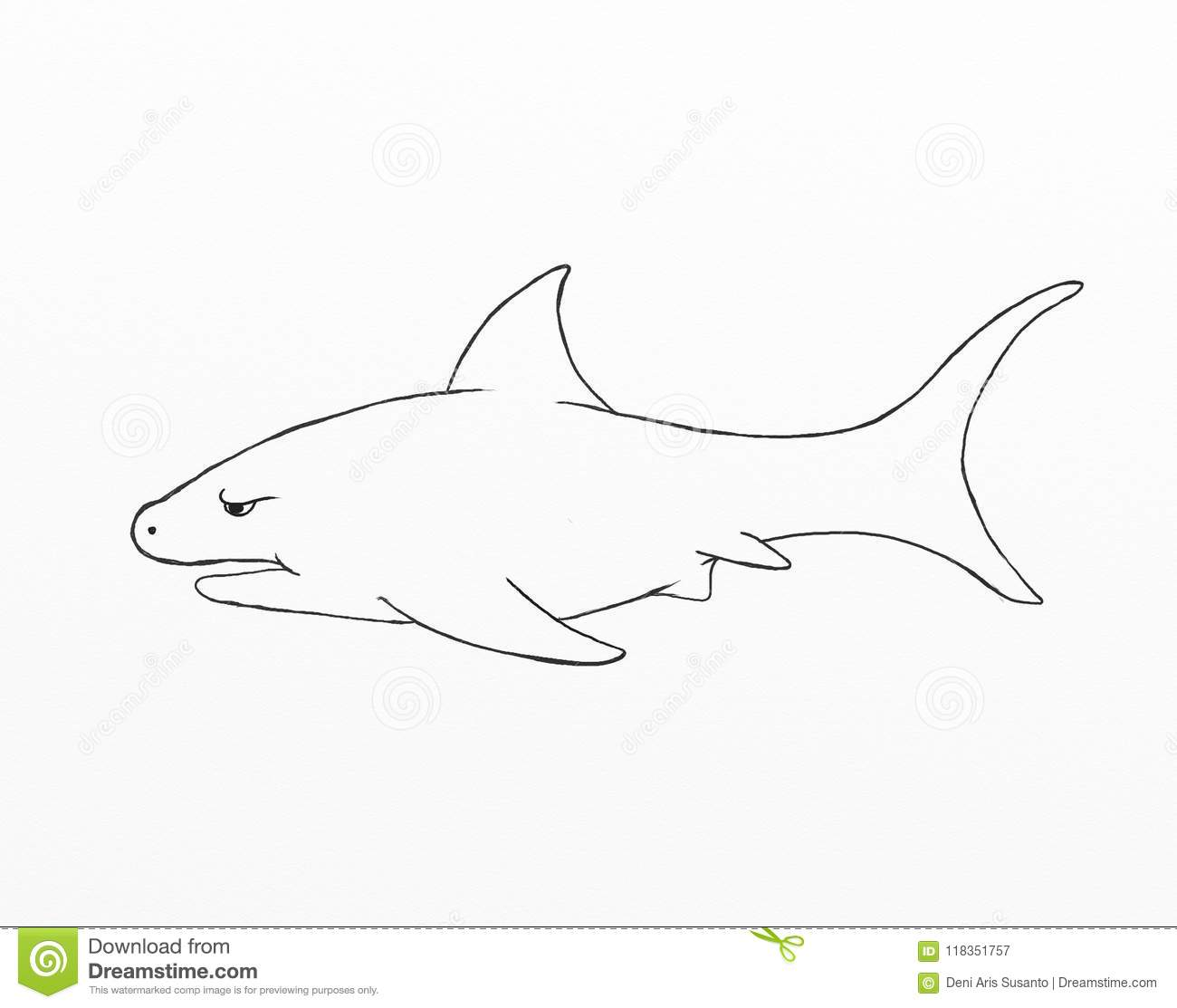 Cry Shark Cartoon Vector