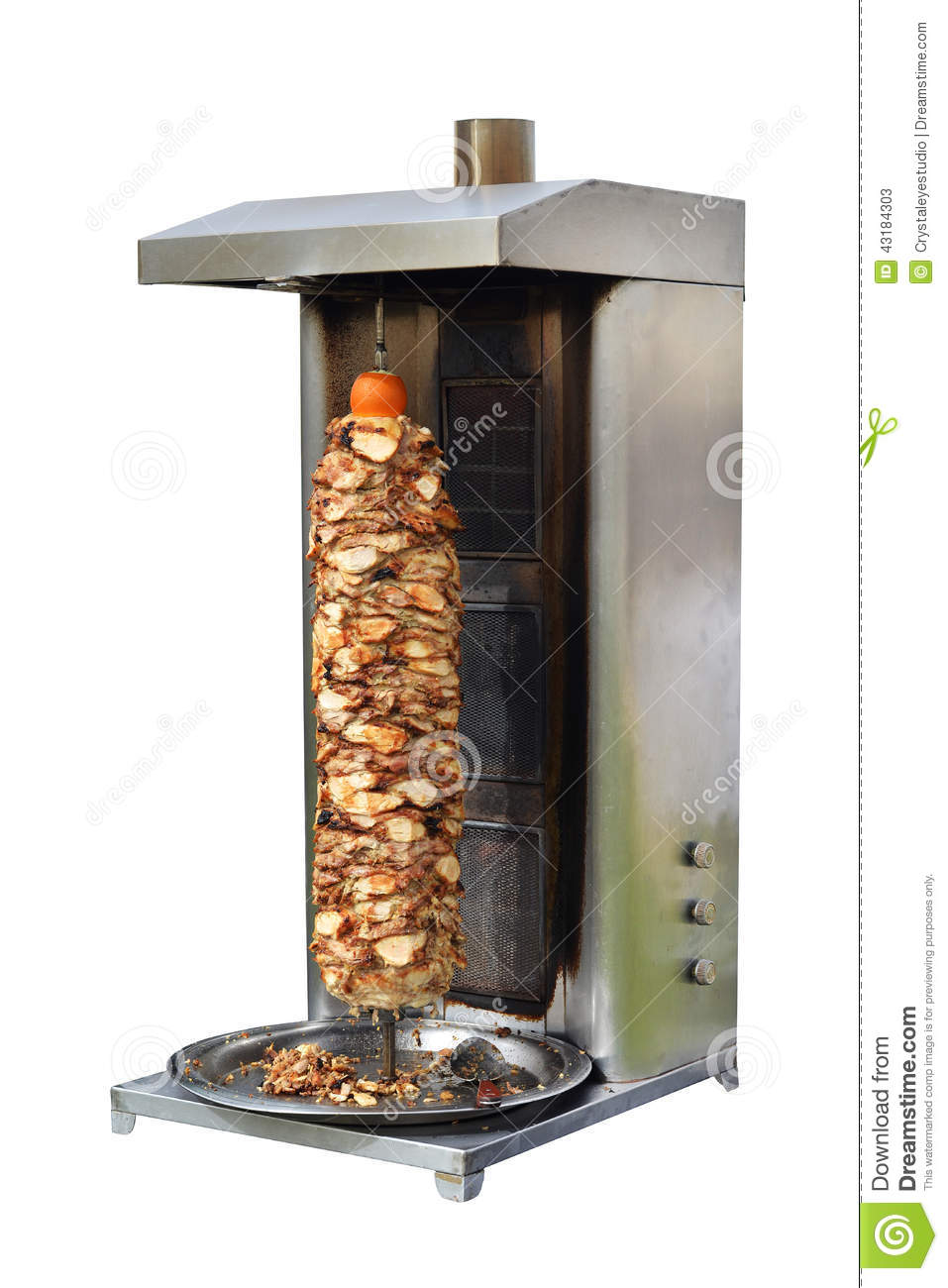 Shawarma Cooking In Vertical Spit Oven Stock Photo