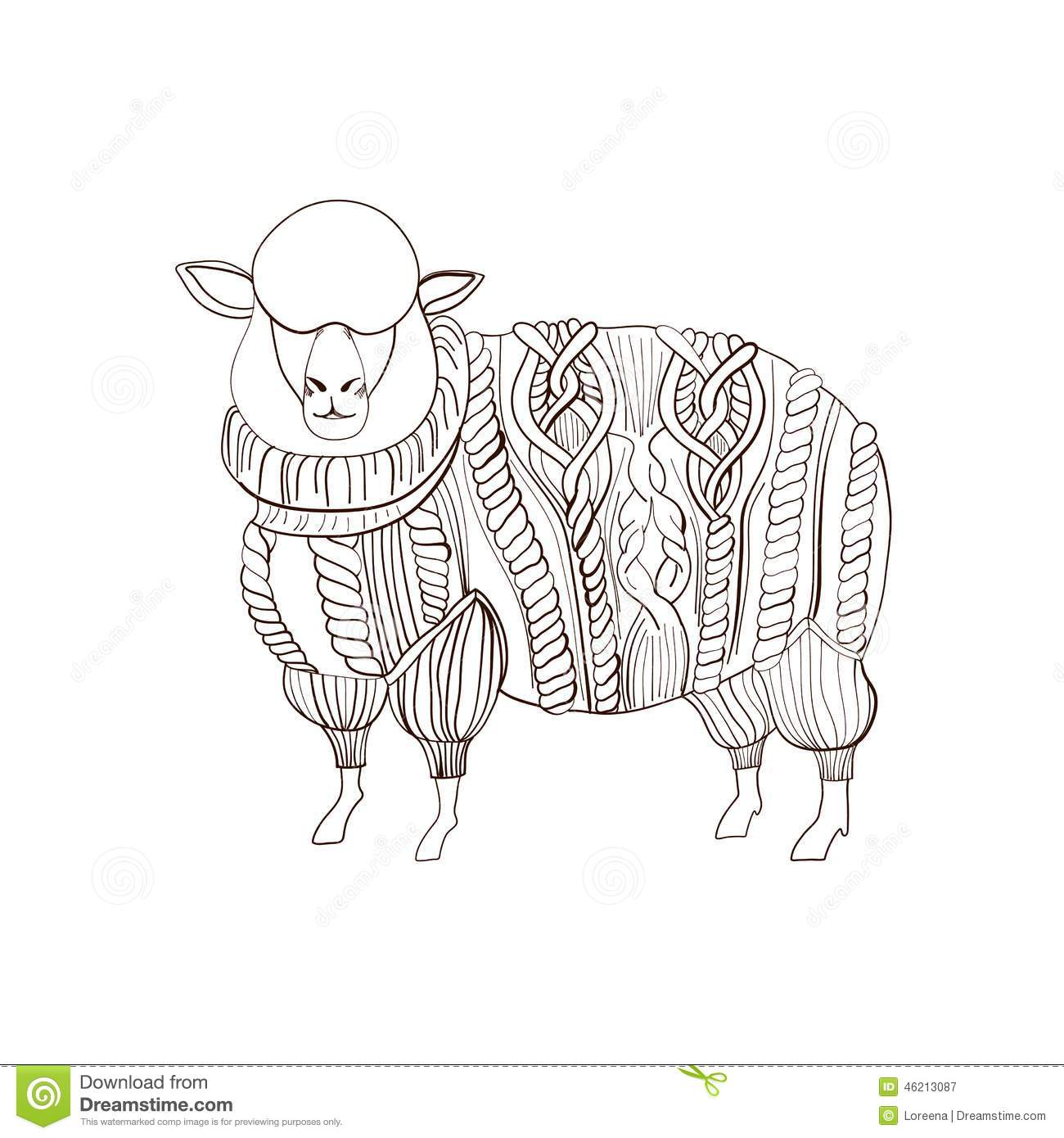 Sheep In Knitted Sweater Stock Vector