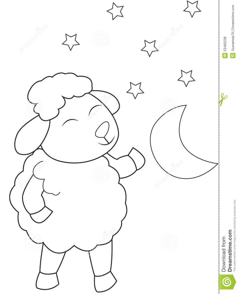 the sheep  the moon and stars coloring page stock
