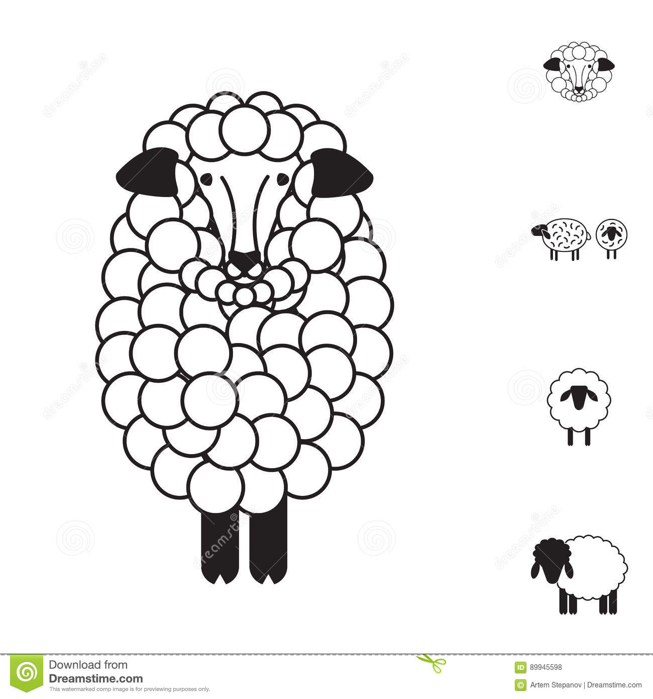 Sheep Or Ram Icon Logo Template Pictogram Trendy Simple