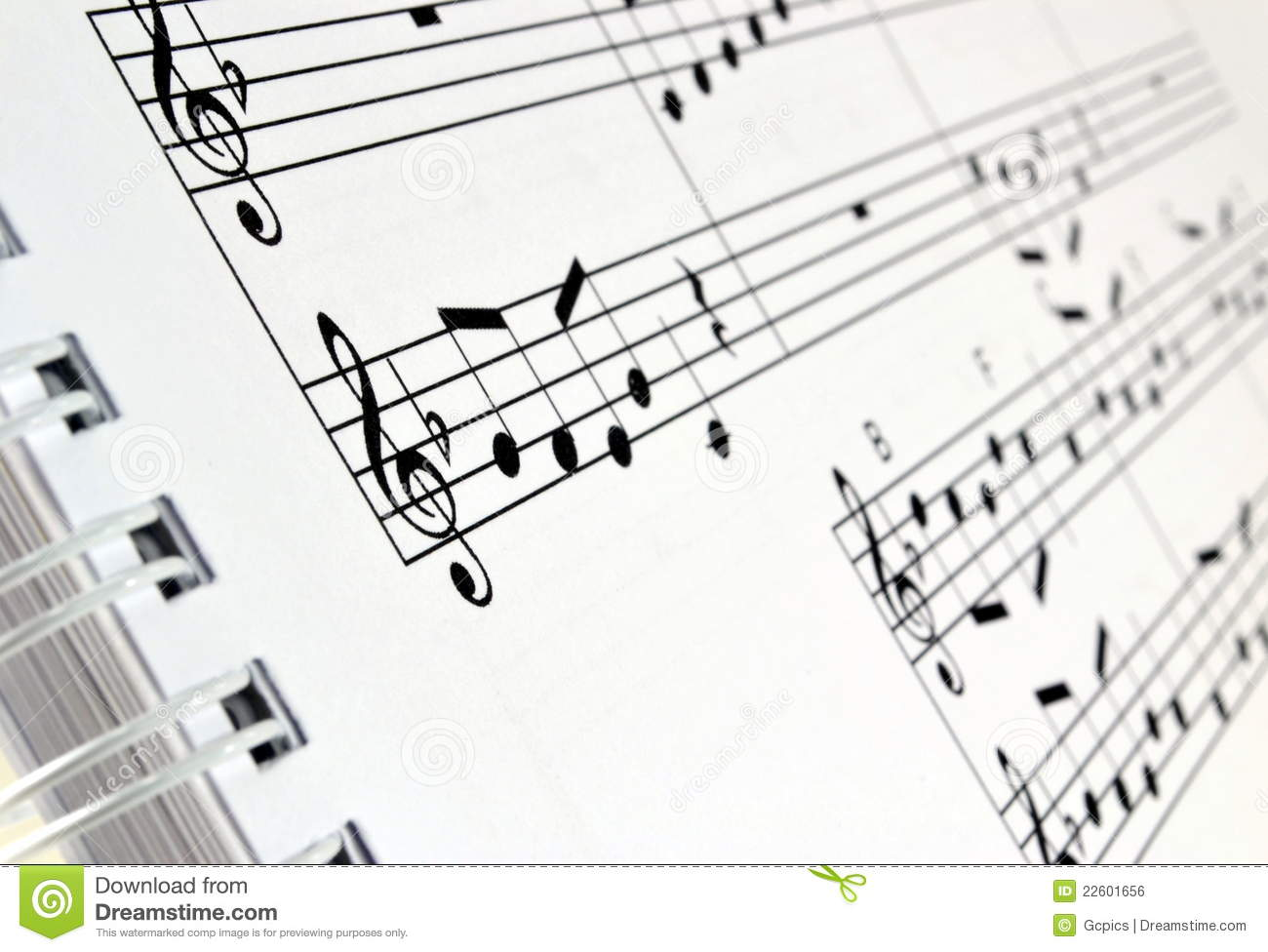 Sheet Music In A Ring Bind Book Royalty Free Stock Image