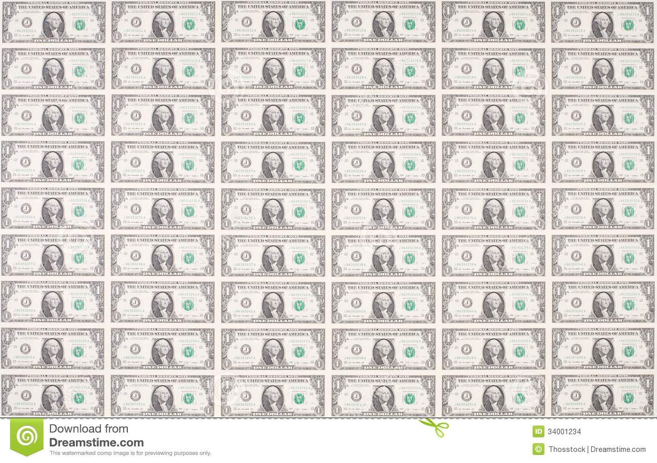 Sheet Of One Dollar Bills As Wallpaper Stock Photo