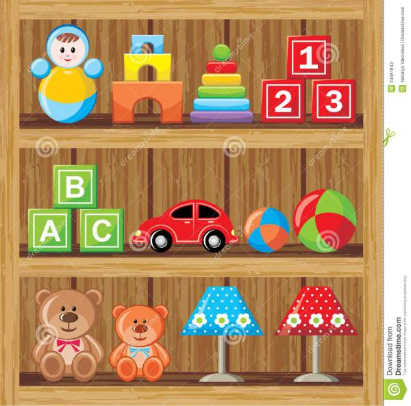 Shelfs With Toys Stock Vector. Illustration Of Pyramid