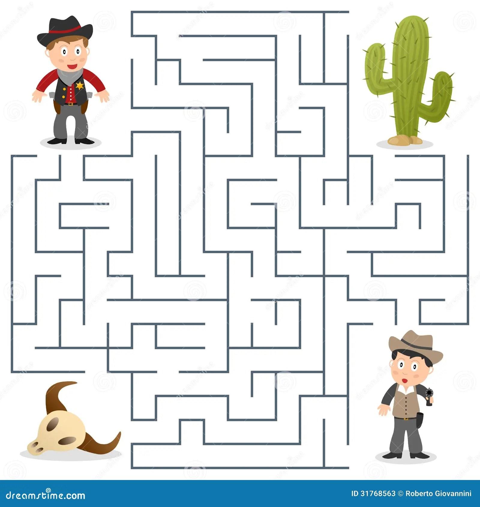 Sheriff U Wunschte Labyrinth Fur Kinder Vektor Abbildung
