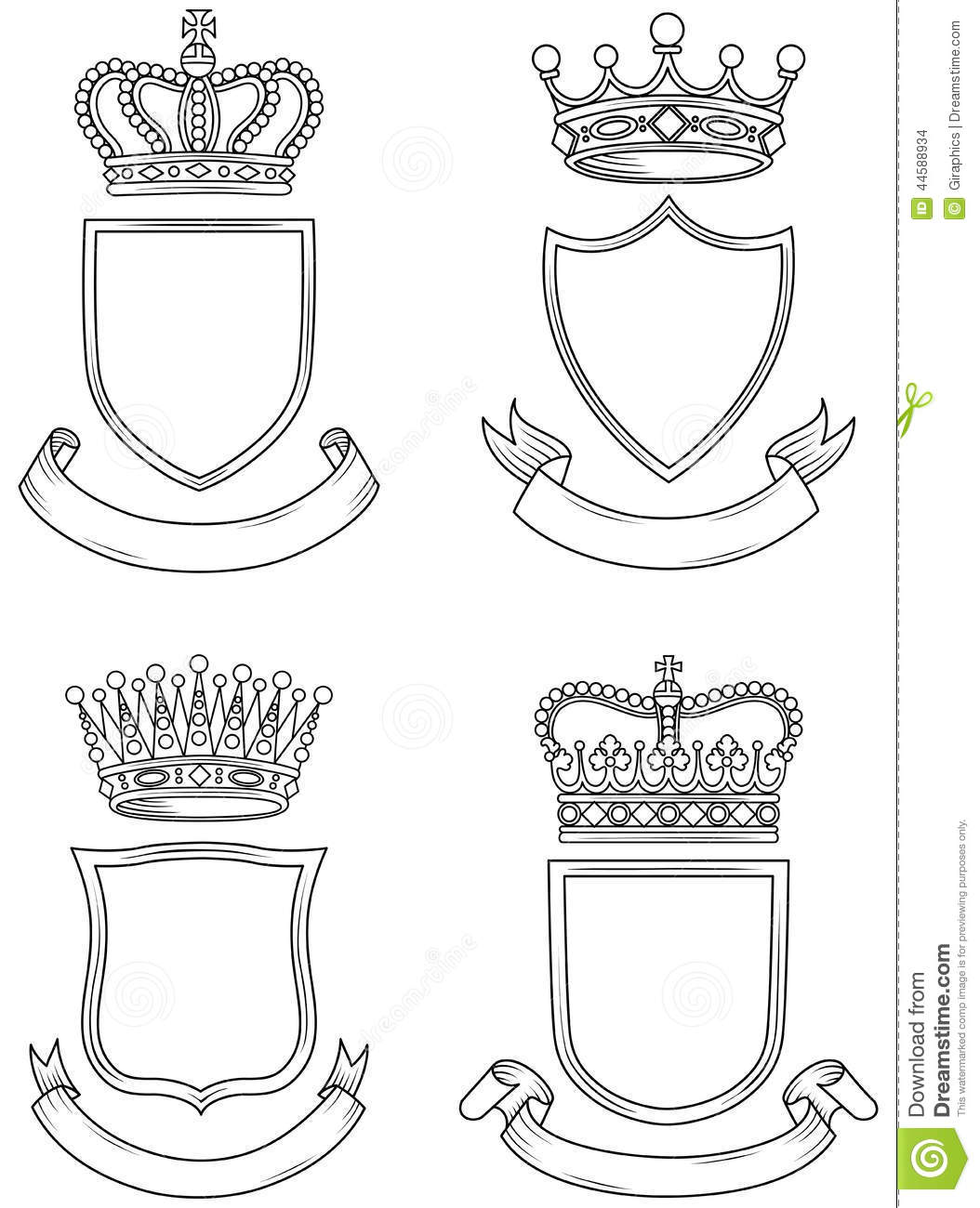 Shield Banner And Crown Set Stock Vector