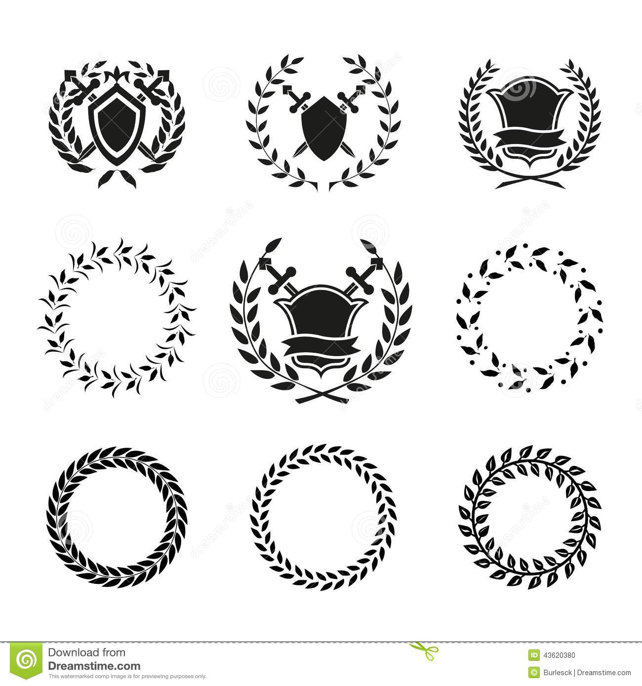 Shields And Wreaths Labels Stock Vector Illustration Of