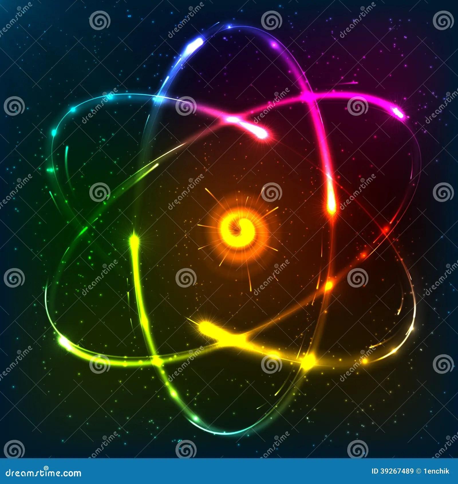 neon atom diagram cat 6 wiring for wall plates uk shining model vector illustration stock