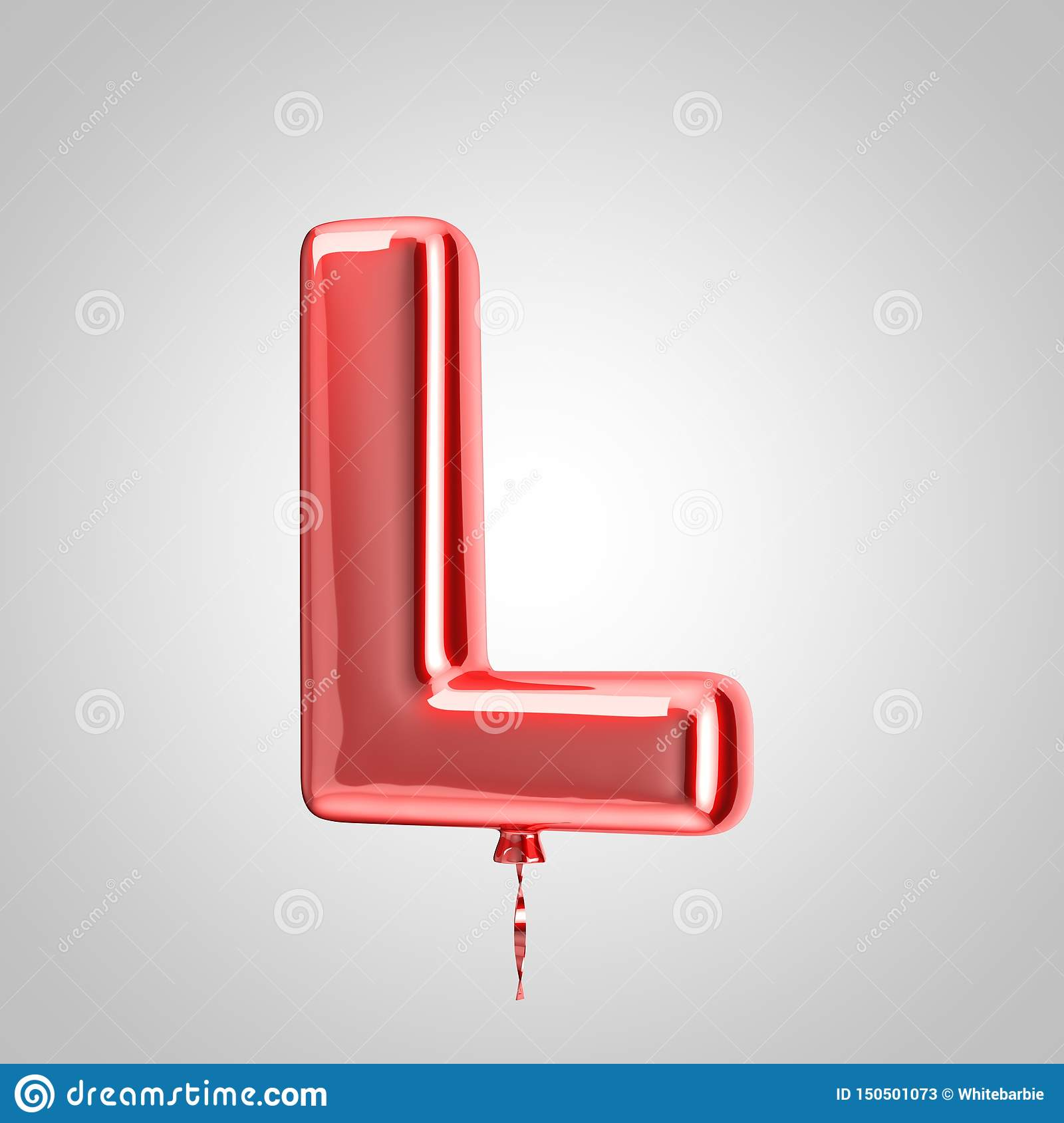 Shiny Metallic Red Balloon Letter L Uppercase Isolated On