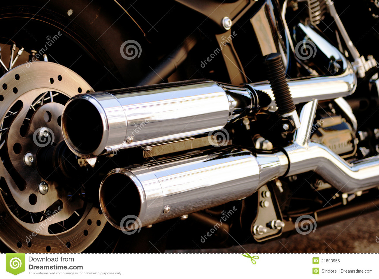 Shiny Motorcycle Double Exhaust Pipe Stock Image