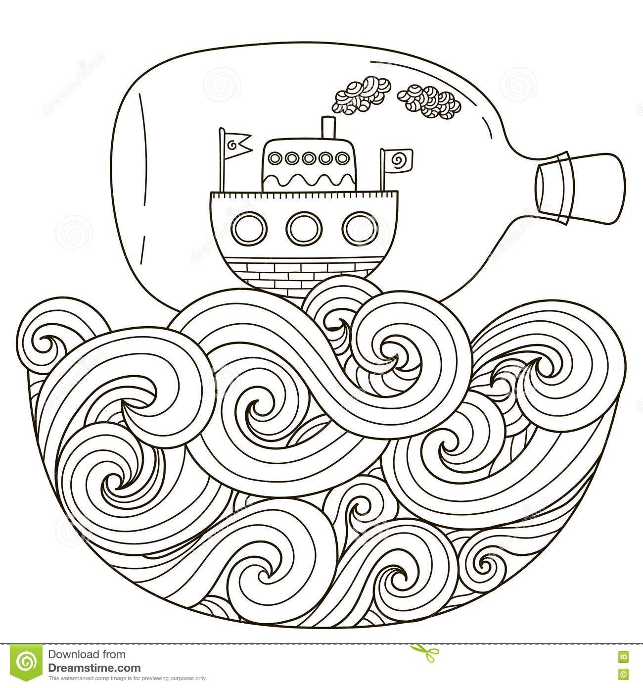 Ship In Bottle Floating On The Wavy Sea For Coloring Page
