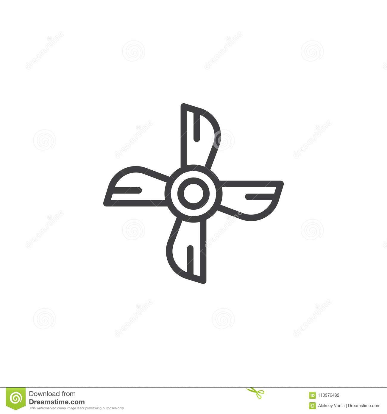 Ship Engine Propeller Outline Icon Stock Vector