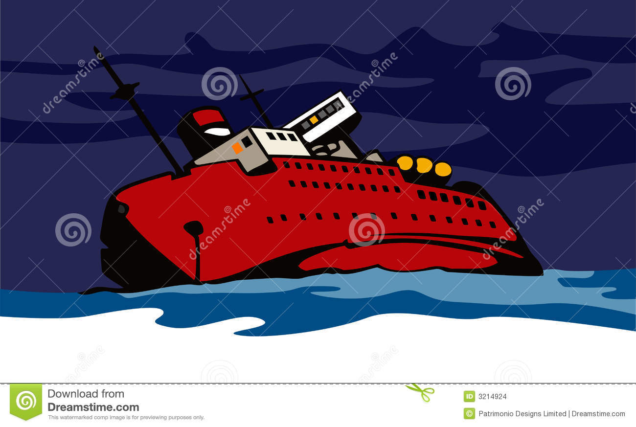 Ship Sinking Stock Vector Illustration Of Cargo