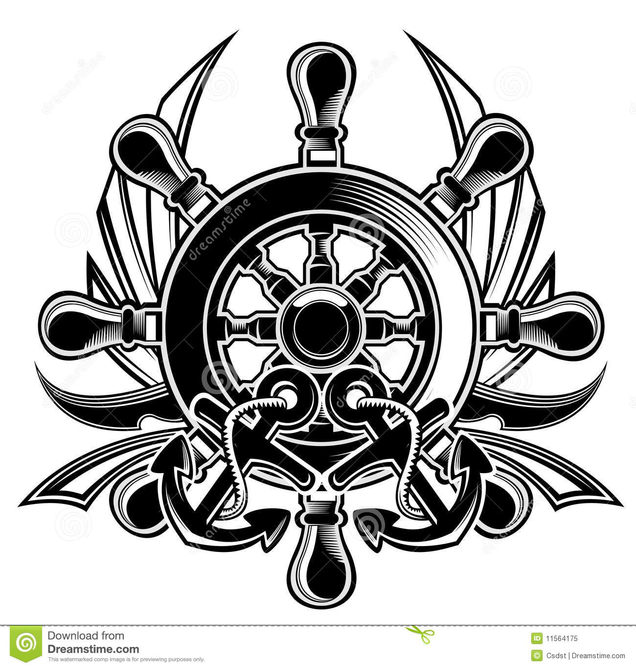 Ship Steering Wheel Shield Stock Vector Illustration Of