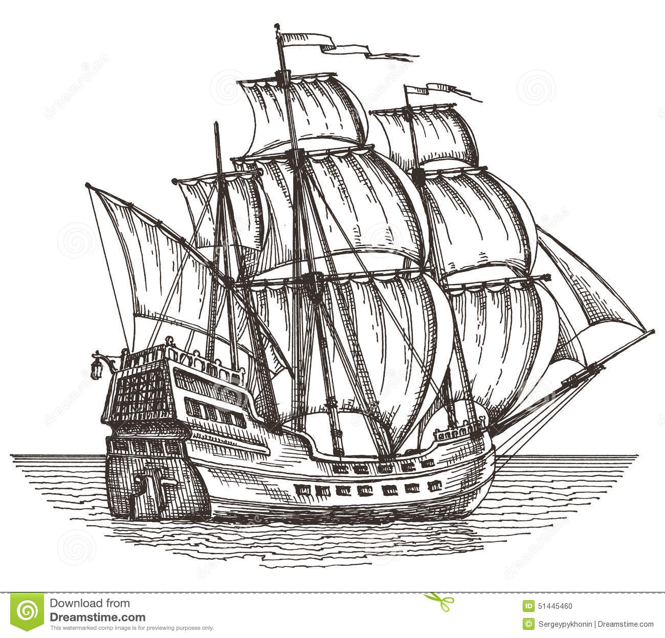 Ship On A White Background Sketch Illustration Stock