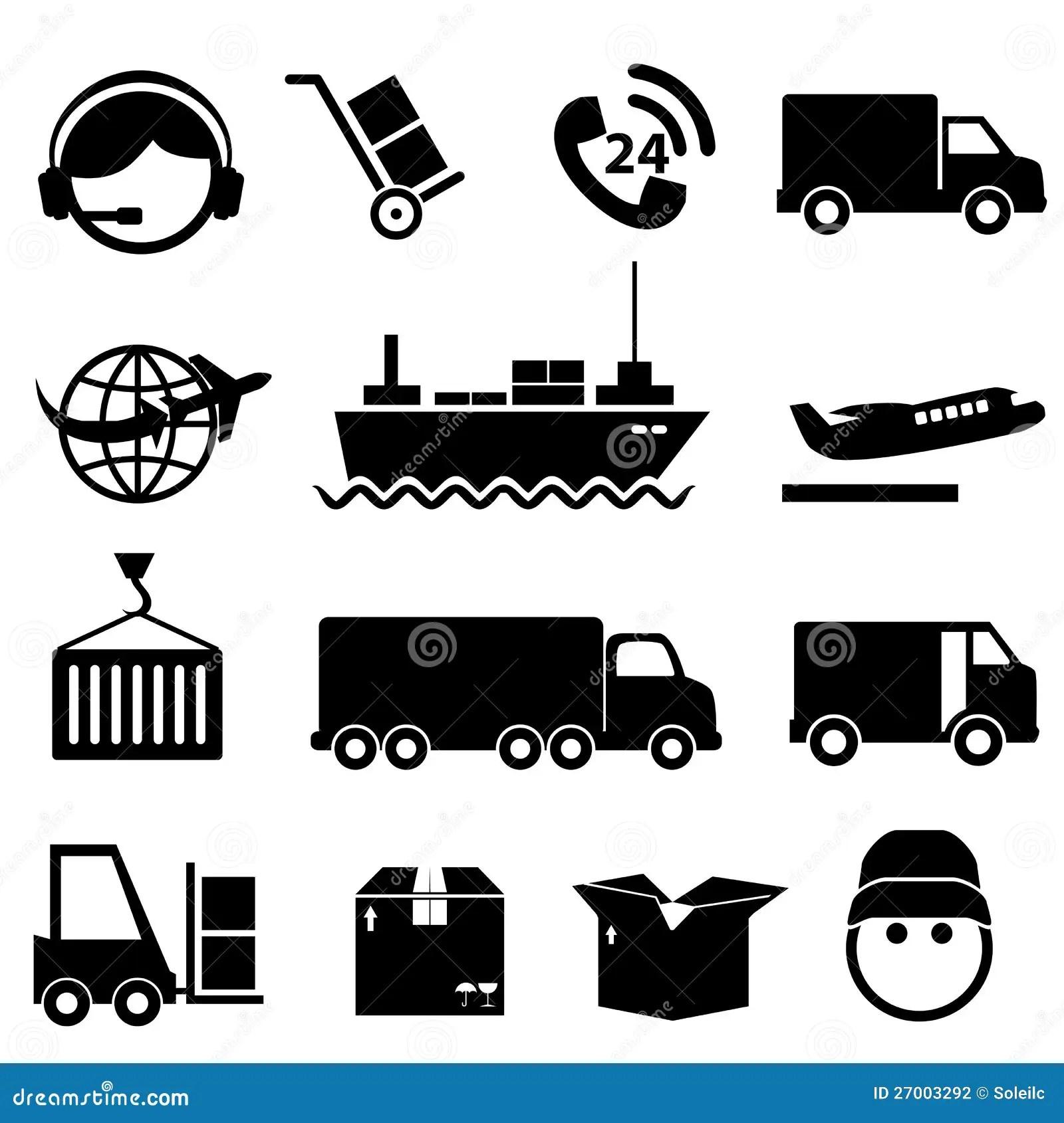 Shipping And Cargo Icon Set Stock Vector