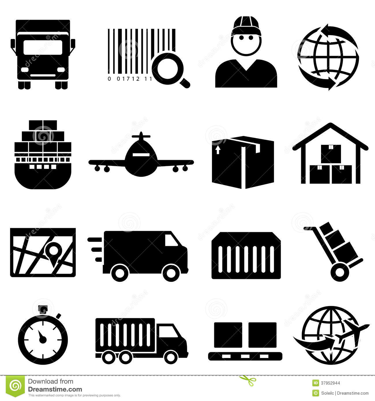 Shipping And Cargo Icons Stock Vector Illustration Of