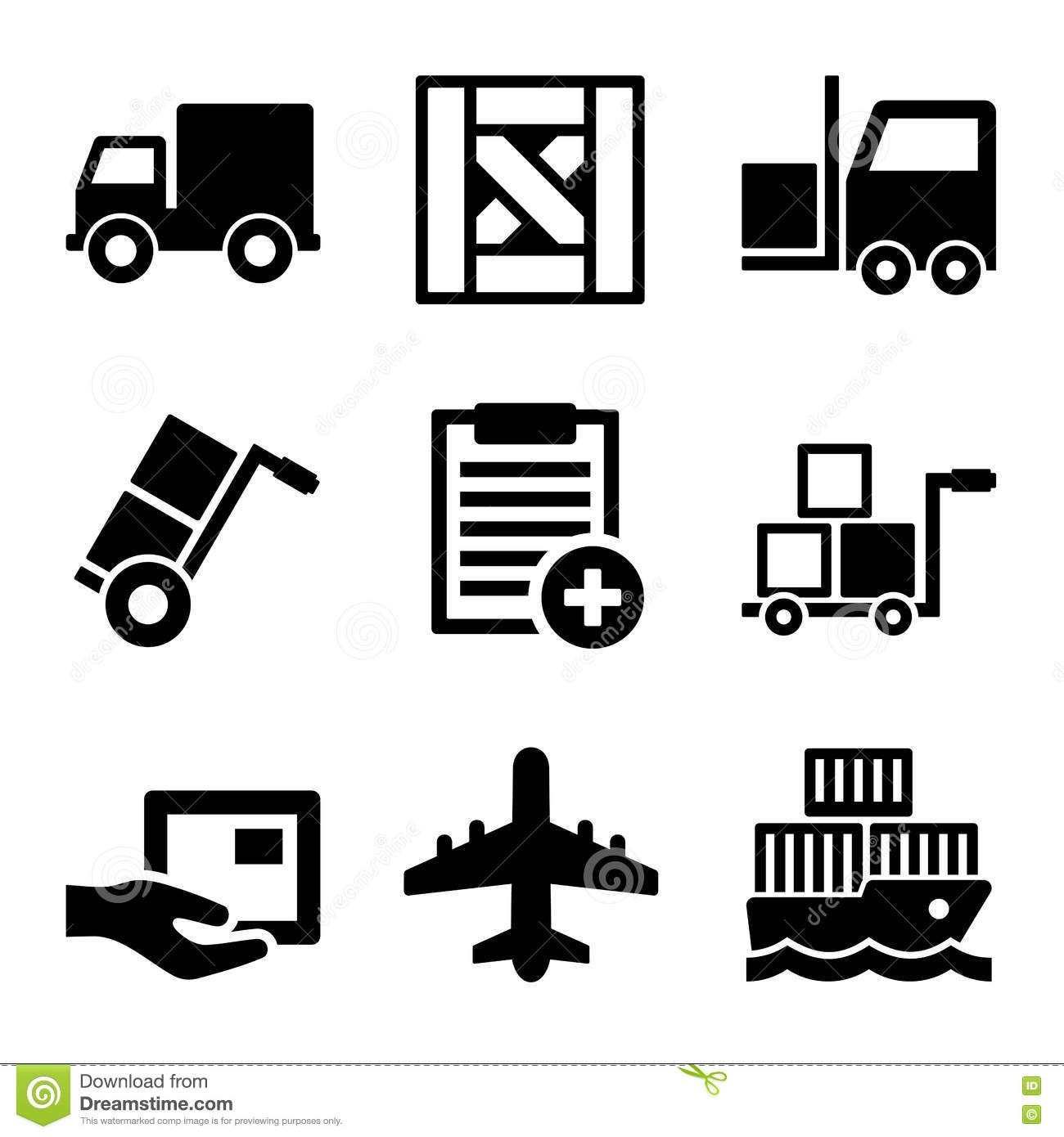 Shipping Cargo Warehouse And Logistic Icons Set Stock