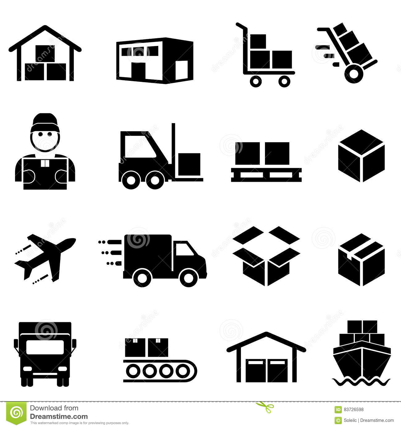 Shipping Distribution Cargo And Logistics Icons Stock