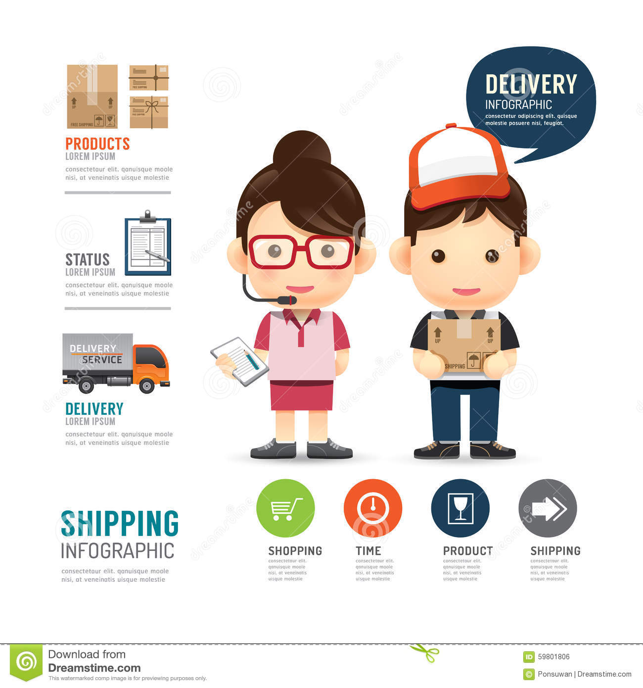 Shipping Infographic With People Delivery Service Design