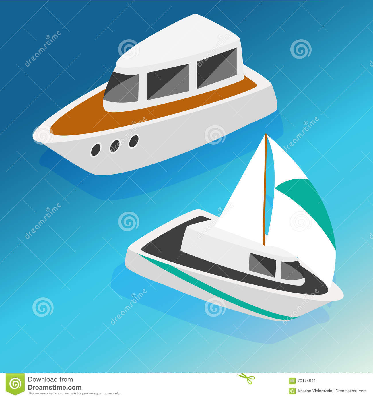 Ships Yachts Boats Isometric Icons Set Vector Illustration