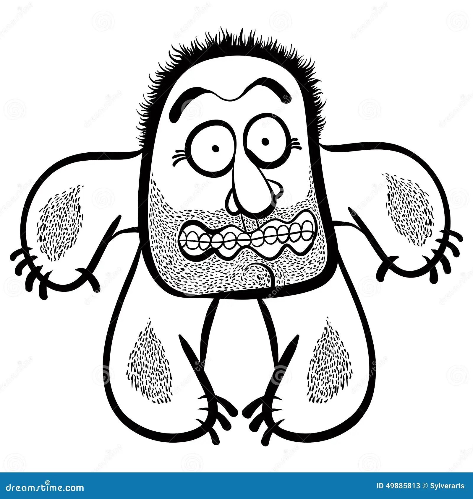 Shocked Cartoon Monster With Stubble Cartoon Vector