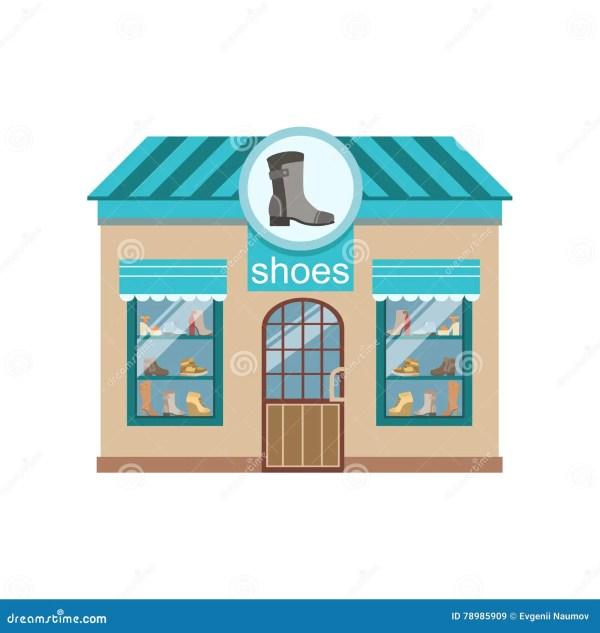 Shoe Commercial Building Facade Design Stock Vector