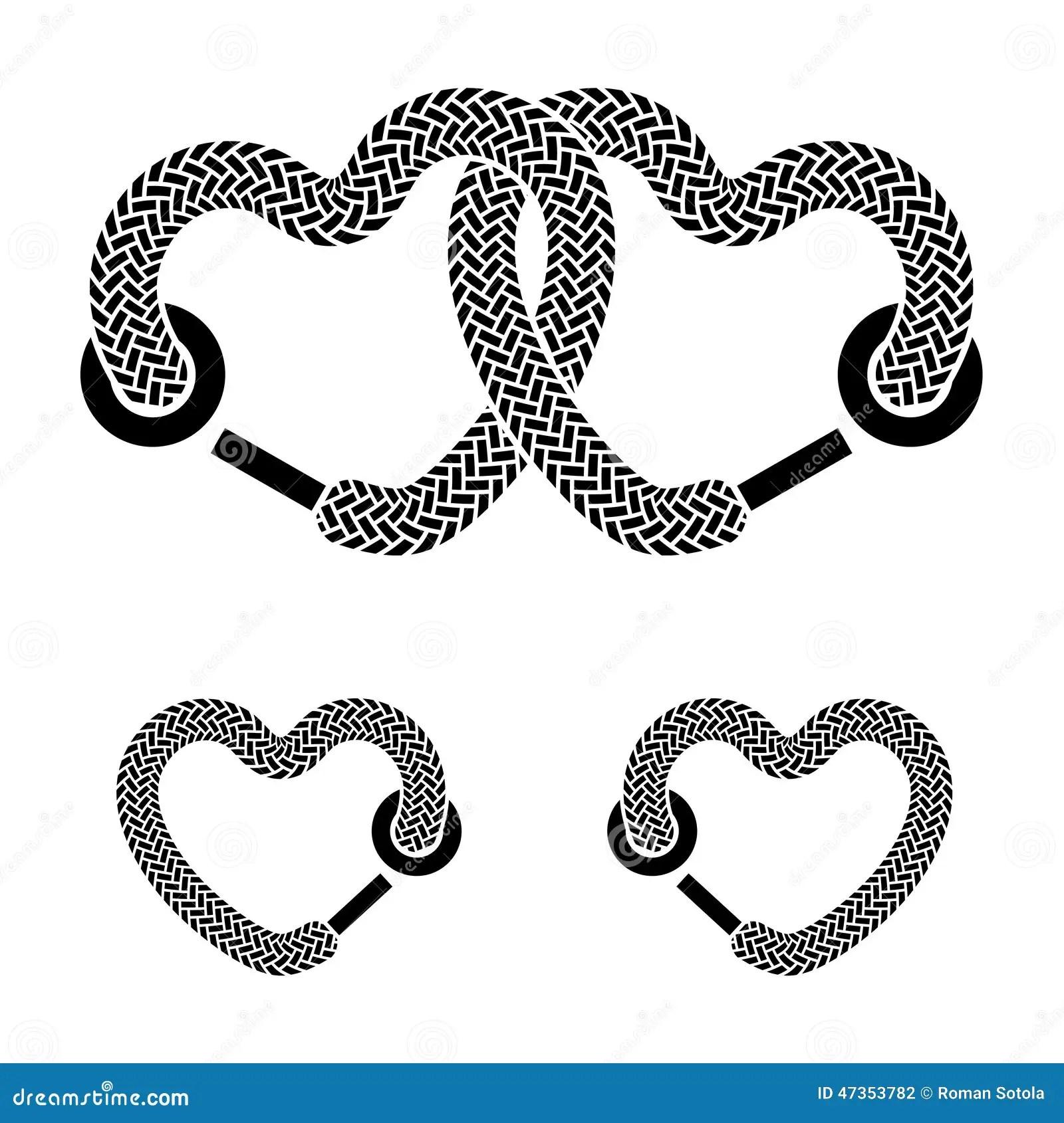 Shoelace Linked Hearts Black White Symbols Stock Vector