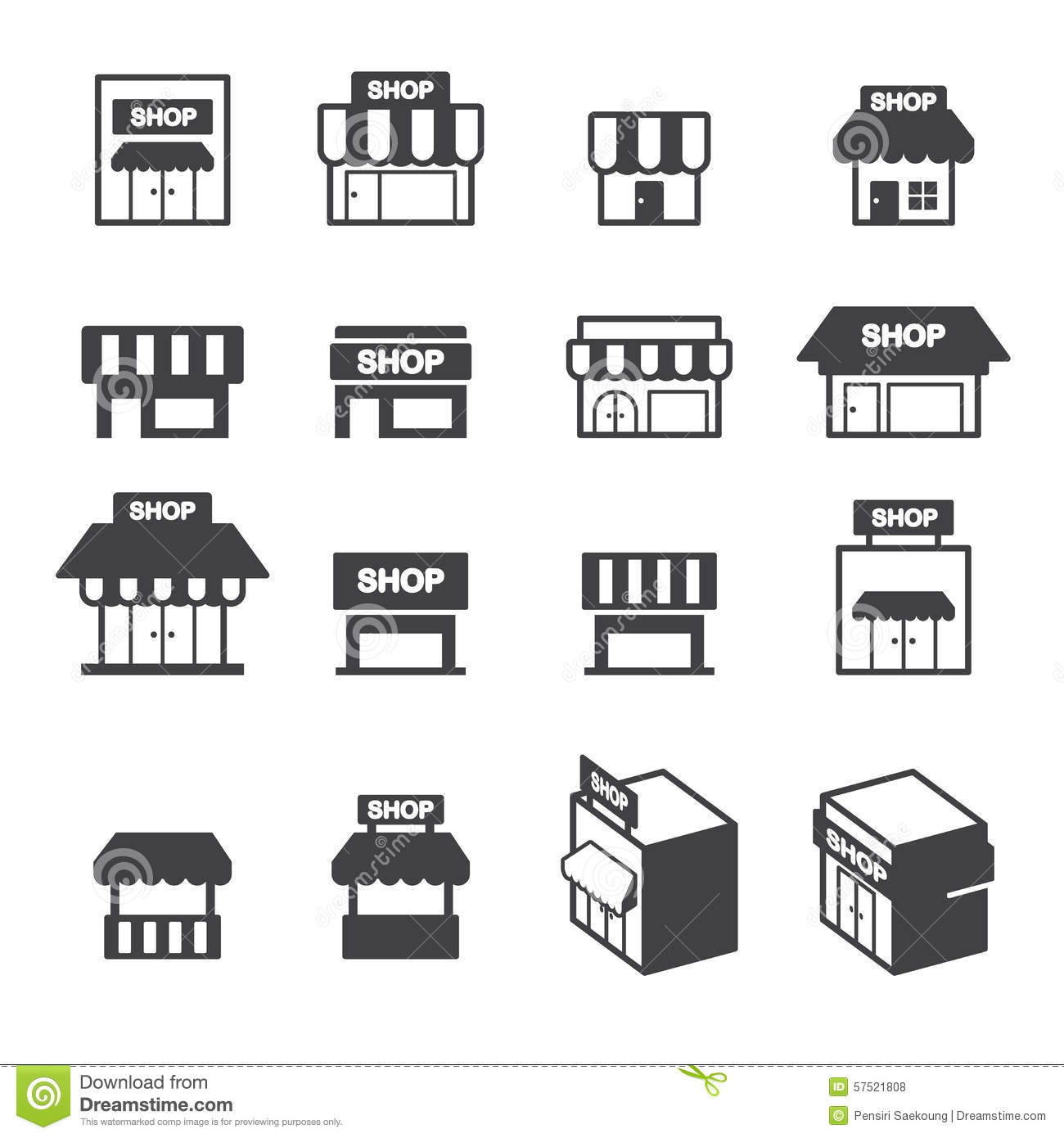 Shop Building Icon Set Stock Vector Illustration Of
