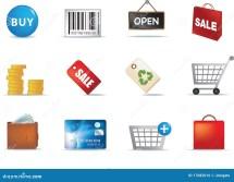 Shopping Aand Retail Icon Set Stock Vector - Illustration