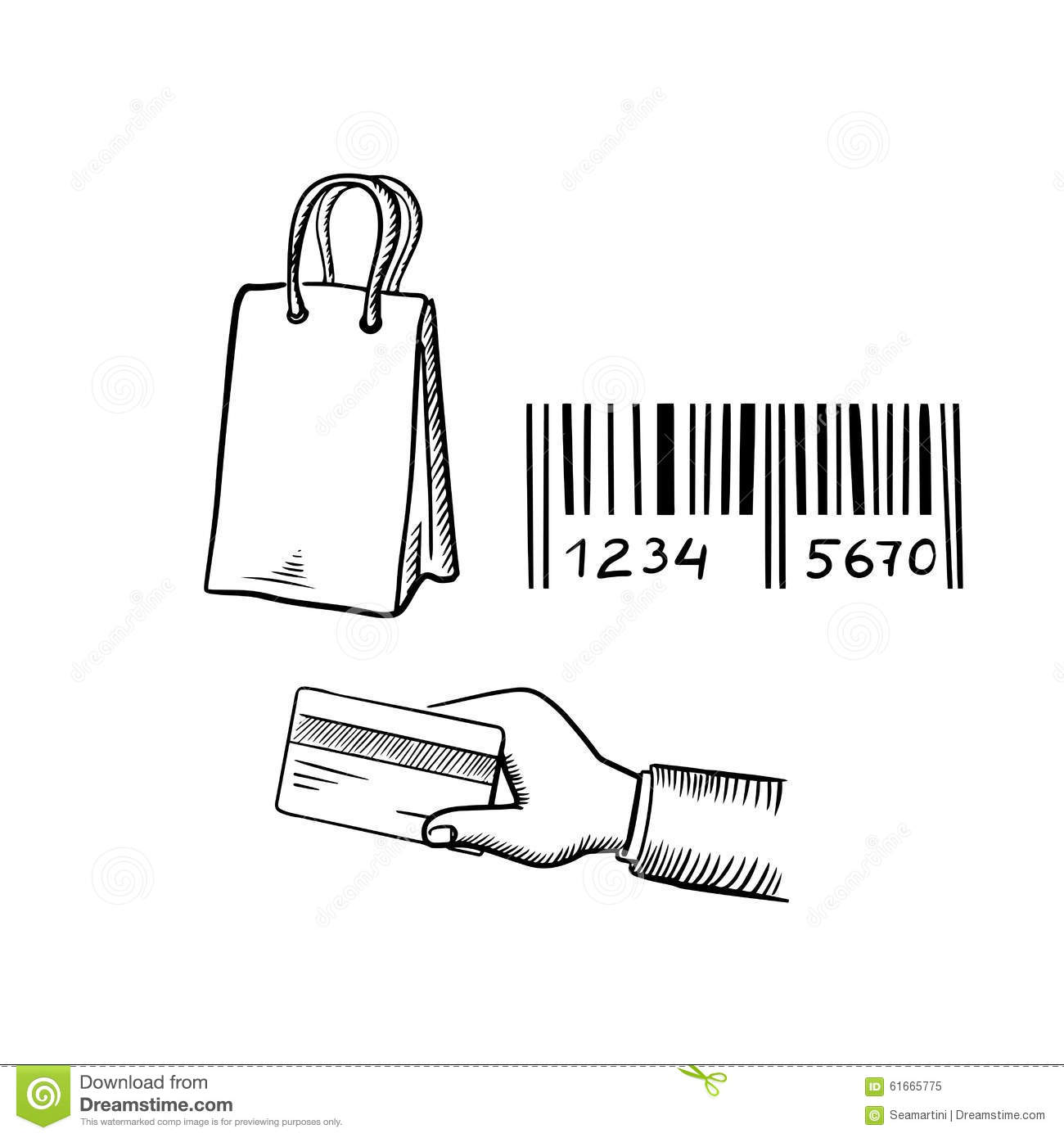 Shopping Bag, Credit Card And Barcode Sketches Stock