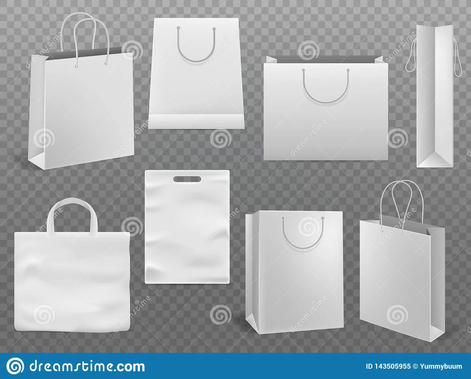 shopping product package for corporate brand template. Shopping Bag Mockups Empty Handbag White Paper Fashion Bag With Handle Vector 3d Isolated Template Stock Vector Illustration Of Bagful Merchandise 143505955