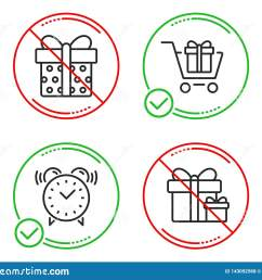 shopping cart gift box and alarm clock icons simple set surprise package sign gift box present package time present boxes line shopping cart do icon  [ 1600 x 1383 Pixel ]