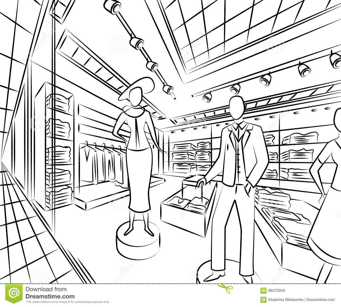 Shopping Center With Fashion Stores. Interior Design In