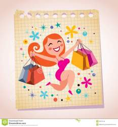 shopping cartoon cute illustration paper note royalty vector