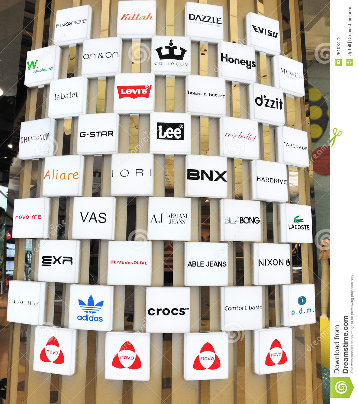 Shopping Guide Wall Of Brand Logo Editorial Photography