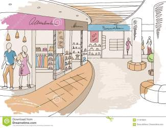 mall shopping graphic sketch vector interior illustration cartoon clothing preview