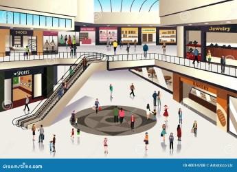 mall shopping vector inside scene hall