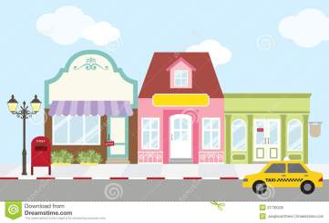 shopping street strip mall center vector