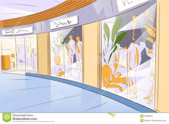 mall shopping center window modern illustration vector luxury preview dress