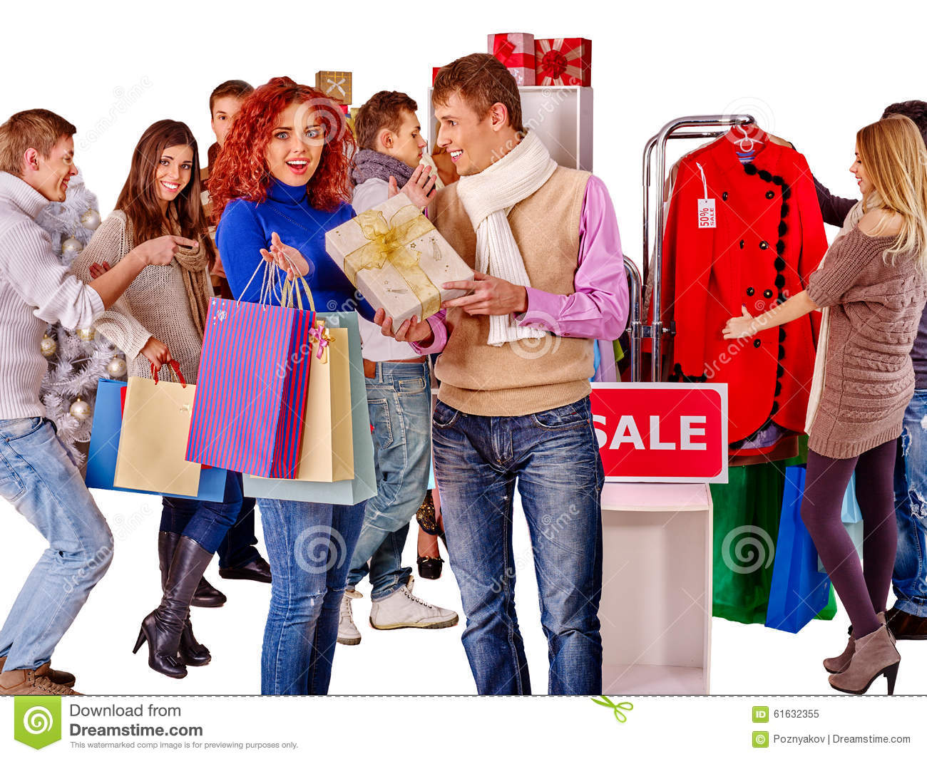 Shopping Women At Christmas Sales Stock Image Image of