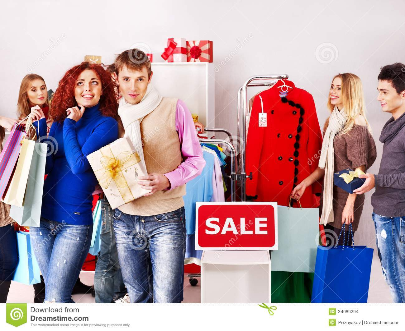 Shopping Women At Christmas Sales Stock Images Image